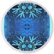 Love Blossom Ocean Turquoise Border Round Beach Towel