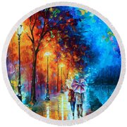 Love By The Lake Round Beach Towel