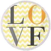 Love Chevron Yellow Round Beach Towel