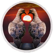 Love Dove Birds At Sunset Round Beach Towel