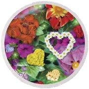 Love Flowers Garden Round Beach Towel