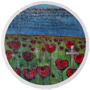 Love For Flanders Fields Poppies Round Beach Towel