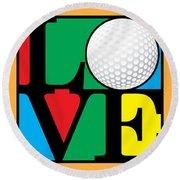 Love Golf Round Beach Towel