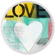 Love Graffiti Style- Print Or Greeting Card Round Beach Towel