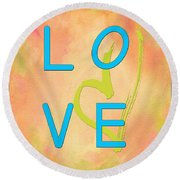 Love In Bright Blue Round Beach Towel