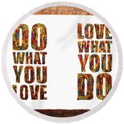 Love In Life Acrylic Palette Knife Painting Round Beach Towel