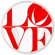 Love In Red Round Beach Towel
