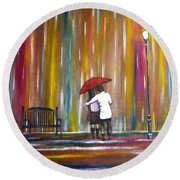 Love In The Rain Round Beach Towel