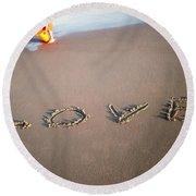 Love Is Blue Round Beach Towel by Mark Ashkenazi