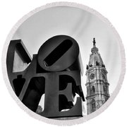 Love Is Just Black And White Round Beach Towel