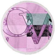 Love - J249115131t-grape Round Beach Towel