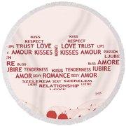 Love Kiss Digital Art Round Beach Towel