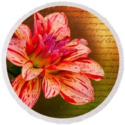 Love Letter To Dahlia Round Beach Towel