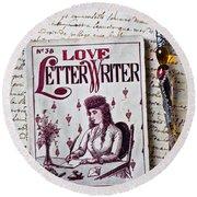 Love Letter Writer Book Round Beach Towel