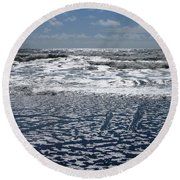 Love Letters In The Sand Round Beach Towel