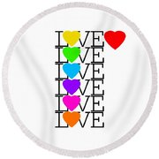 Love Love Love Round Beach Towel