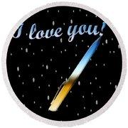 Love Message Digital Painting Round Beach Towel