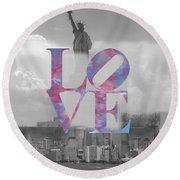 Love - New York City Round Beach Towel