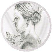 Loves- Her Butterflies Round Beach Towel