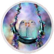 Love On A Moon Swing Round Beach Towel by Carol Cavalaris