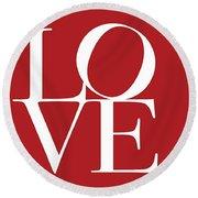 Love On Red Round Beach Towel
