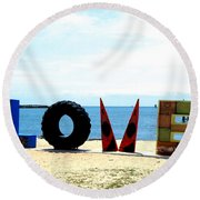 Love On The Beach Found Art Outer Banks Round Beach Towel