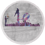 Love Over Paris Round Beach Towel