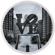 Love Park Bw Round Beach Towel by Susan Candelario