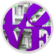 Love Philadelphia Purple Round Beach Towel