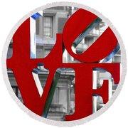 Love Philadelphia Red Round Beach Towel