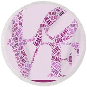 Love Quatro - Heart - S44b Round Beach Towel