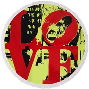 Love - Red On Lime Round Beach Towel