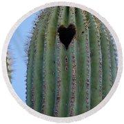 Love Shack Saguaro With A Heart Round Beach Towel