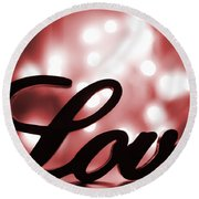 Love Sign With Red Sparkle Round Beach Towel