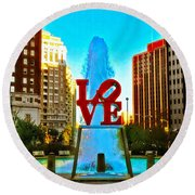 Love Town Round Beach Towel