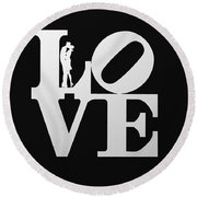 Love Typography And Kissing Couple Round Beach Towel