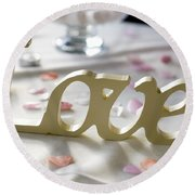 Love Word At A Wedding Round Beach Towel