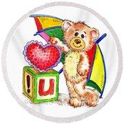 Love You Teddy Bear Round Beach Towel
