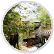 Lovejoy Covered Bridge And Moose Round Beach Towel