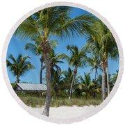 Lovely Beach On Key West East Side Round Beach Towel