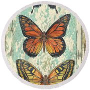 Lovely Butterfly Trio On Tin Tile Round Beach Towel