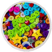 Lovely Buttons Round Beach Towel