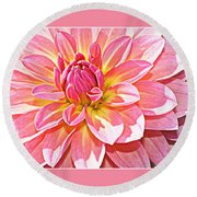 Lovely In Pink - Dahlia Round Beach Towel