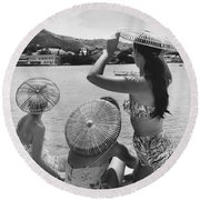 Lovely Ladies In Cha Cha Hats Round Beach Towel