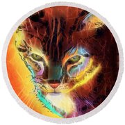 Lovely Lulu The Cat Round Beach Towel