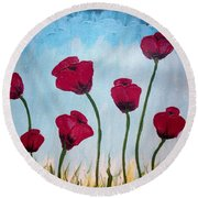 Lovely Poppies Round Beach Towel