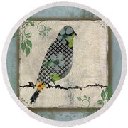 Lovely Song Bird-a Round Beach Towel