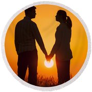 Lovers Holding Hands At Sunset In Silhouette Round Beach Towel