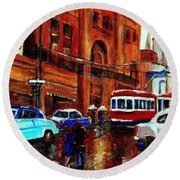 Lovers In The Rain Stroll St Catherine Street Near Morgans Department Store Vintage City Scene Art Round Beach Towel
