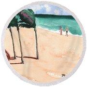Lovers On The Beach Round Beach Towel